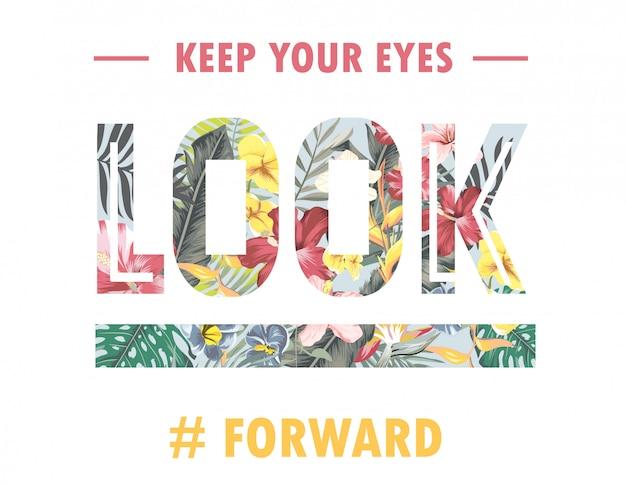 Slogan de typographie avec fond de forêt tropicale