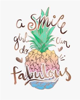 Slogan de typographie avec illustration d'ananas