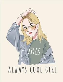 Slogan de typographie avec illustration de jolie fille