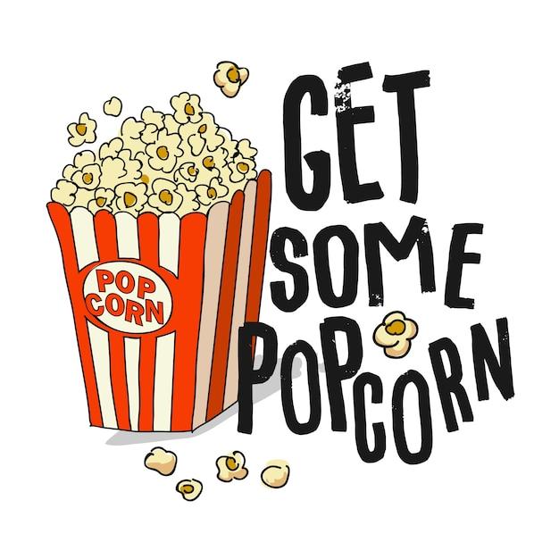 Slogan de typographie avec illustration de pop-corn