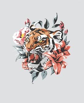 Slogan de typographie avec illustration de tigre et rose