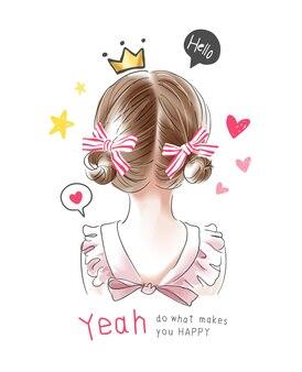 Slogan de typographie avec petite fille aux cheveux blonds et illustration d'icônes mignonnes