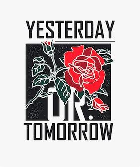 Slogan de typographie avec rose illustratation