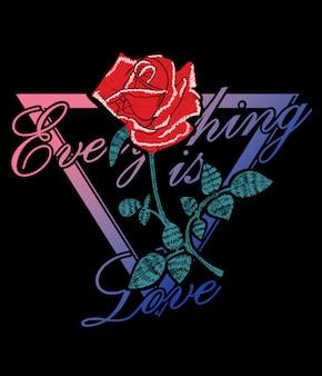 Slogan de typographie avec des roses pour l'impression de t-shirt
