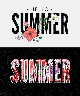 Slogan de vacances d'été avec illustration d'ananas et de fleurs tropicales
