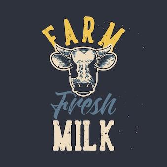 Slogan vintage typographie ferme lait frais