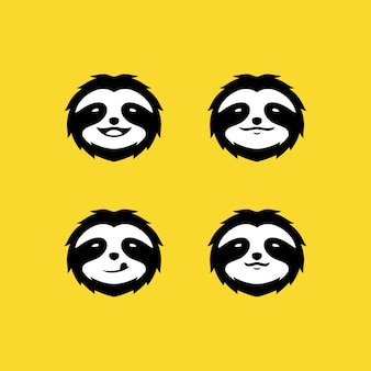 Sloth face logo sur jaune