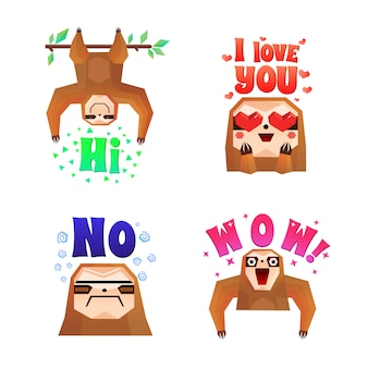 Sloth funny cartoon compositions set