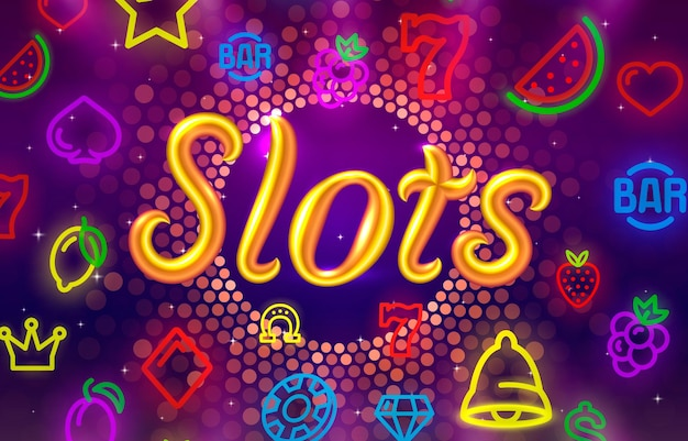 Slots icônes néon casino slot sign machine nuit vegas vecteur