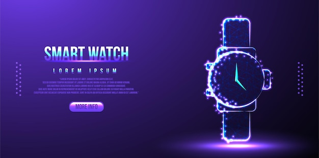 Smart, montre, smartphone low poly wireframe