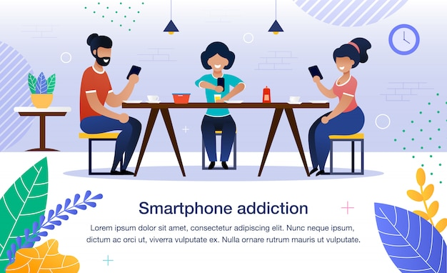 Smartphone addiction flat banner, affiche