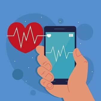 Smartphone affichant le rythme cardiaque