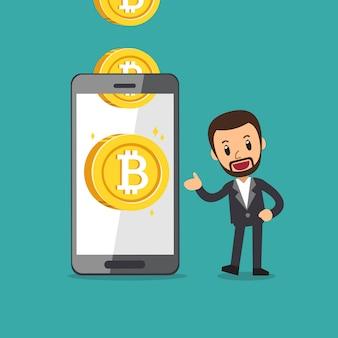 Smartphone aide un homme d'affaires à gagner de l'argent
