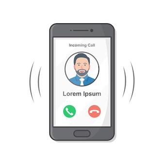 Smartphone avec appel entrant à l'écran. appel téléphonique entrant plat