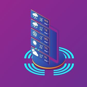 Smartphone avec application météo isométrique
