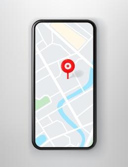 Smartphone avec application de navigation à l'écran