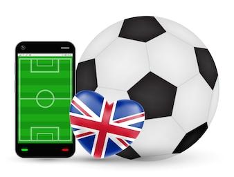 Smartphone avec amour vecteur de football football Angleterre