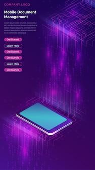 Smartphone avec bannière isométrique de gros flux de données