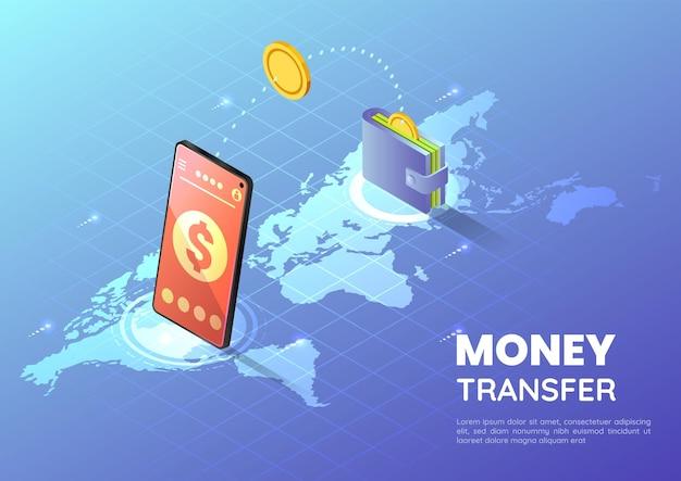 Smartphone de bannière web isométrique 3d transférant de l'argent sur la carte du monde. concept de transfert d'argent en ligne.