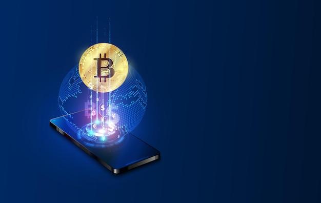 Smartphone avec des bitcoins lumineux pour l'argent virtuel ou le concept de crypto-monnaie.