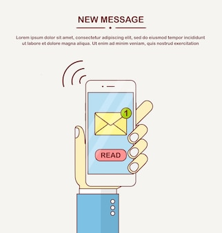 Smartphone blanc avec notification de message à l'écran. alerte de téléphone portable sur un nouveau courrier électronique