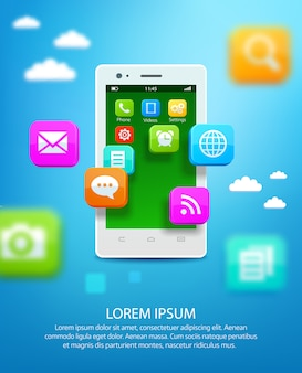 Smartphone blanc avec nuage d'icônes d'application