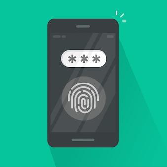 Smartphone avec bouton d'empreintes digitales et bande dessinée plate de champ mot de passe
