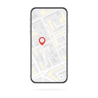 Smartphone avec une carte sur l'écran du téléphone et un point gps rouge, isolé sur fond blanc. illustration de la recherche d'emplacement
