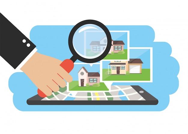 Smartphone avec carte de propriété de maisons et homme d'affaires