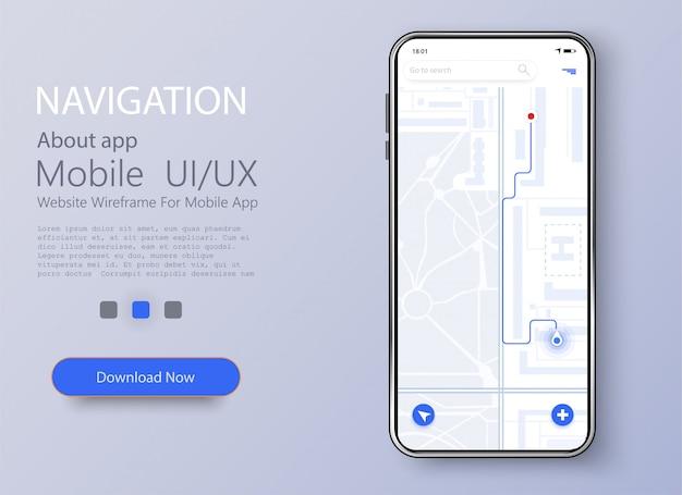 Smartphone avec carte et repère de navigation à l'écran