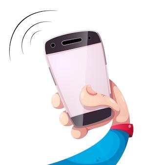 Smartphone cartooon drôle, illustration de la main
