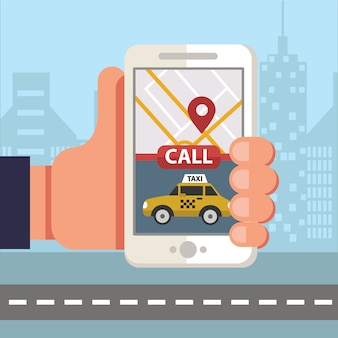 Smartphone commander un taxi via une application mobile