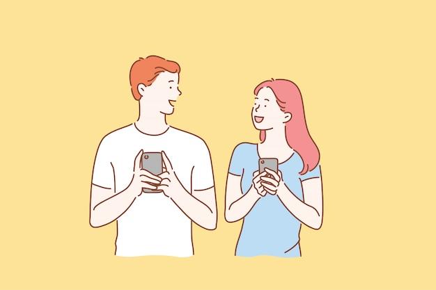 Smartphone, communication, en ligne, concept de relation.