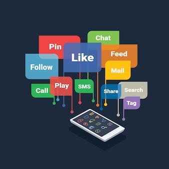 Smartphone avec le concept de médias sociaux