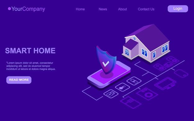 Smartphone contrôlé isométrique smart home. technologie internet des objets du système d'automatisation. petite maison debout près de téléphone portable et de connexions sans fil avec des appareils électroniques domestiques.