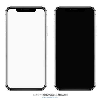 Smartphone en couleur noire avec écran blanc sur fond blanc