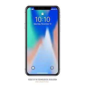 Smartphone en couleur noire avec écran coloré sur fond blanc