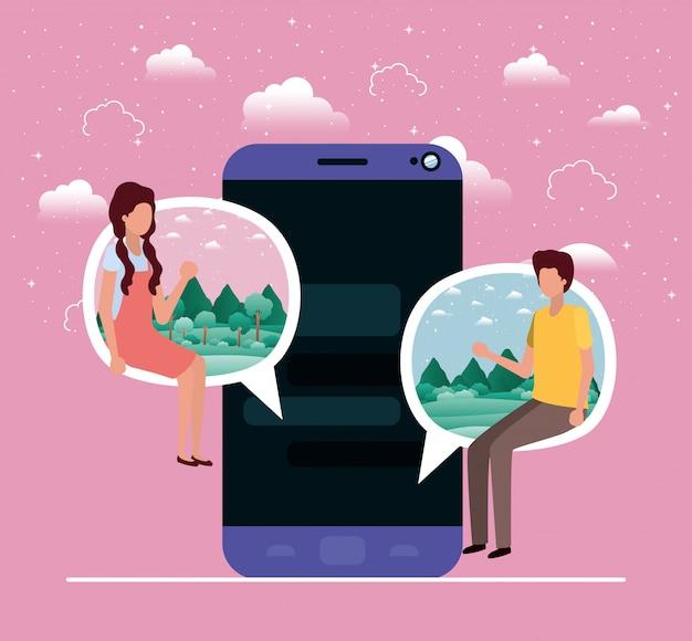 Smartphone avec couple assis dans une bulle de dialogue