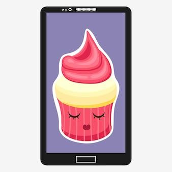 Smartphone avec cupcake en style cartoon plat. les personnages émoticônes strawberry muffin s'amusent à l'écran. illustration vectorielle eps 10 pour votre conception