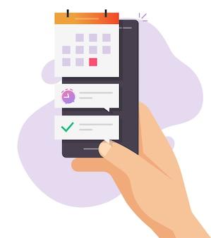 Smartphone date limite importante événement rendez-vous numérique dessin animé plat