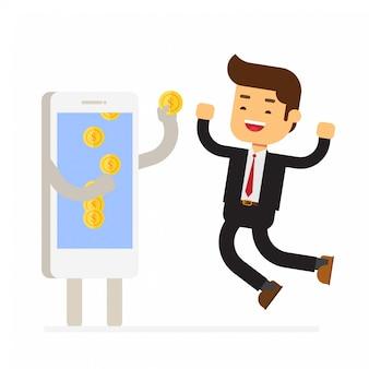 Smartphone donnant une pièce d'argent à un homme d'affaires