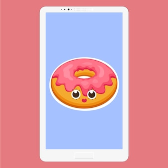 Smartphone avec donut en style cartoon plat. fond de beignet avec des personnages d'émoticônes de dessert glaçure rose visage amusant à l'écran. illustration vectorielle eps 10 pour votre conception.
