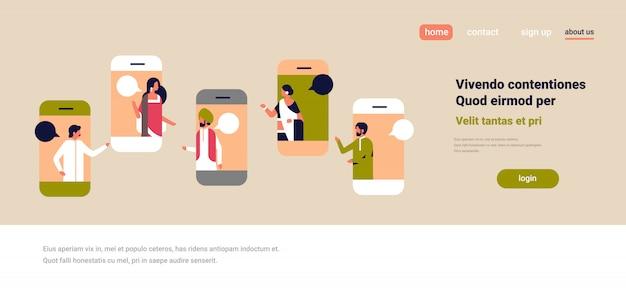 Smartphone écran chat bulle application mobile communication concept discours discours