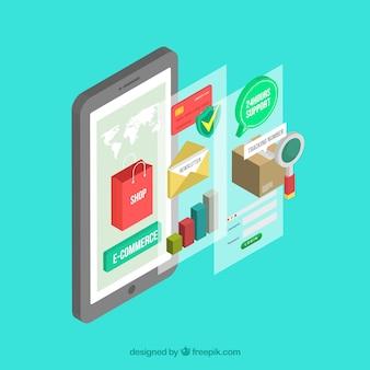 Smartphone et élément de magasin avec design plat