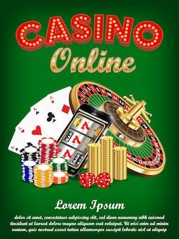 Smartphone en ligne de casino avec la roulette de carte de dés