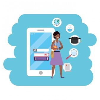 Smartphone étudiant en ligne éducation millénaire