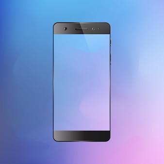 Smartphone sur fond dégradé. téléphone mobile avec écran coloré abstrait