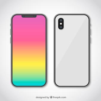 Smartphone avec fond d'écran dégradé