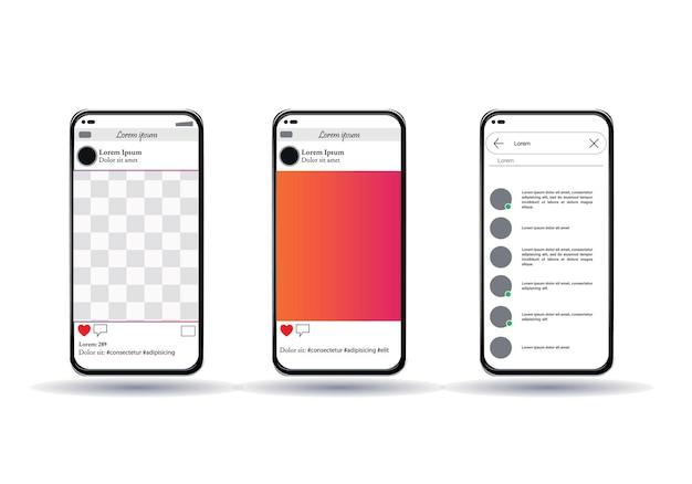 Smartphone sur fond transparent, application mobile, réseau social, illustration
