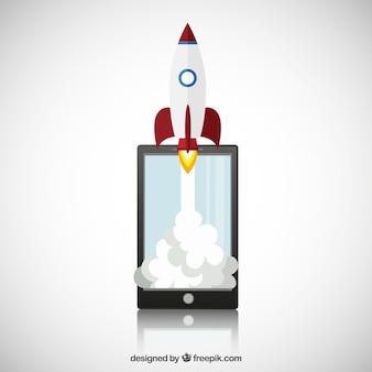Smartphone avec la fusée spatiale